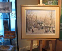 Pour l'occasion, le musée Mariue-Barbeau avait spécialement installé une vitrine remplie d'objets liés à la production traditionnelle du sucre d'érable, de même qu'une magnifique toile représentant une cabane à sucre de l'artiste régionale Dolorès Turmel-Rodrigue. Photo ©chouynard.ca