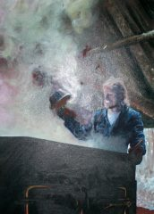 Henry Perreault représenté en pleine action dans sa cabane par Nancy Guérin, artiste peintre. Photo Bernard Genest.