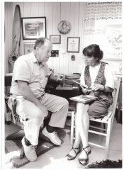 Françoise Dubé en entrevue avec Thomas Fecteau, vedette du film «L'amour a des ailes». (Photo Louise Leblanc, photographe professionnel)